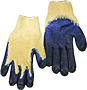 Heavy Cotton Glove With Blue Plastic Dipped 24.5CM Bulk 10 Pair